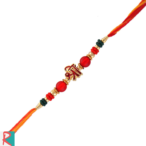 Auspicious shree rakhi in diamond beads