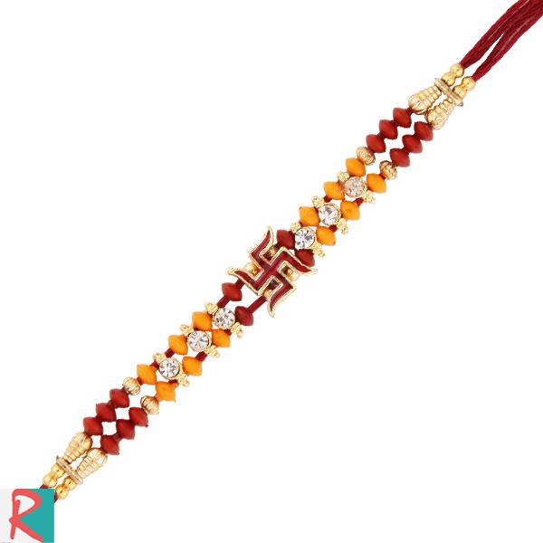 Kundan diamond swastik rakhi