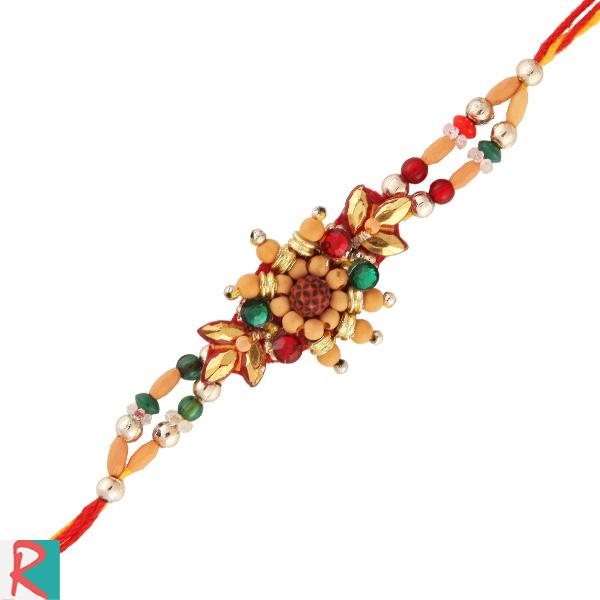Rudraksh glazed beads rakhi