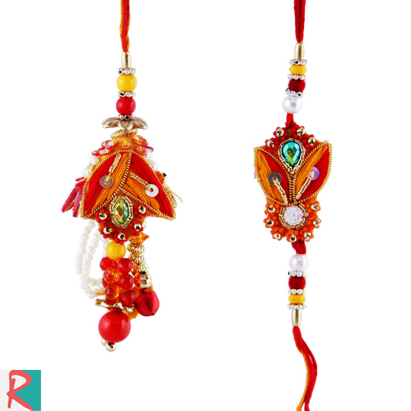 Rich handcrafted zardosi pair