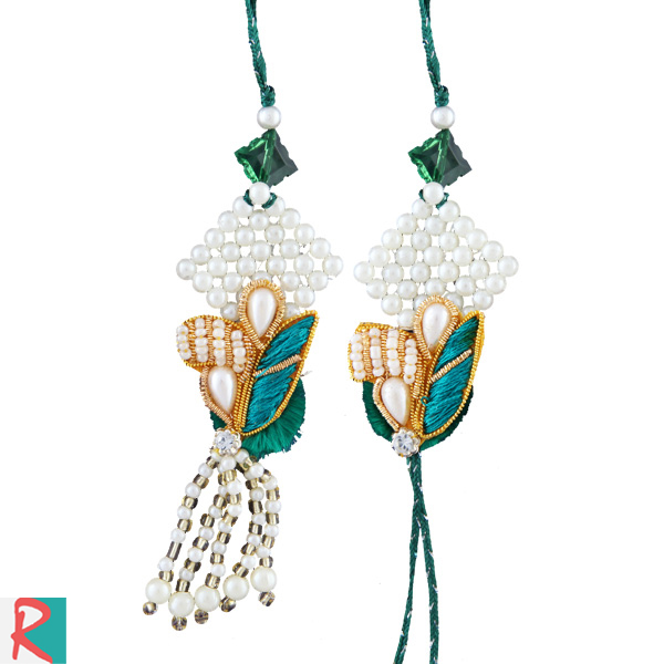 Peacock design pearl pair