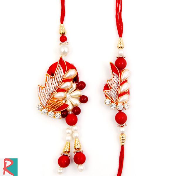 Designer fern and petal bhaiya bhabhi rakhi