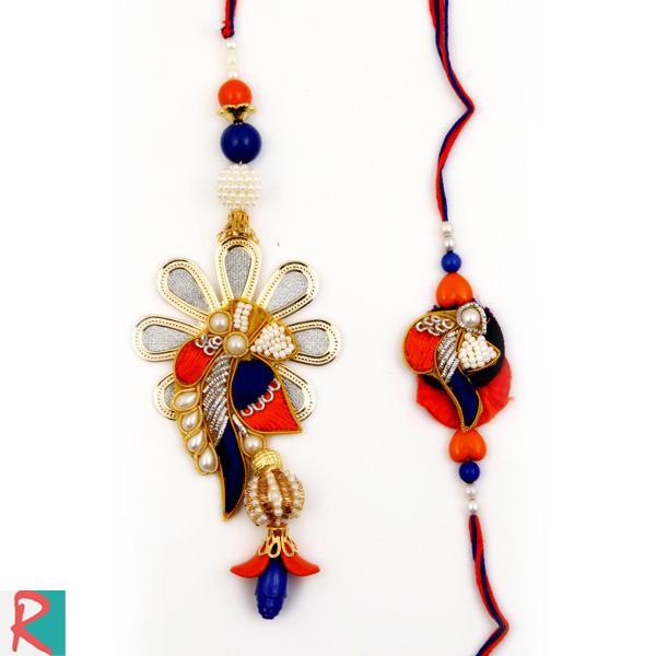 Designer flower petal bhaiya bhabhi rakhi