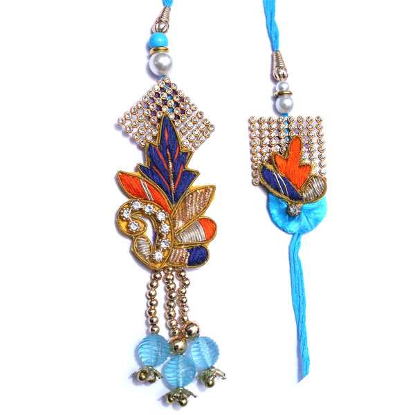 Peacock feather designed pair