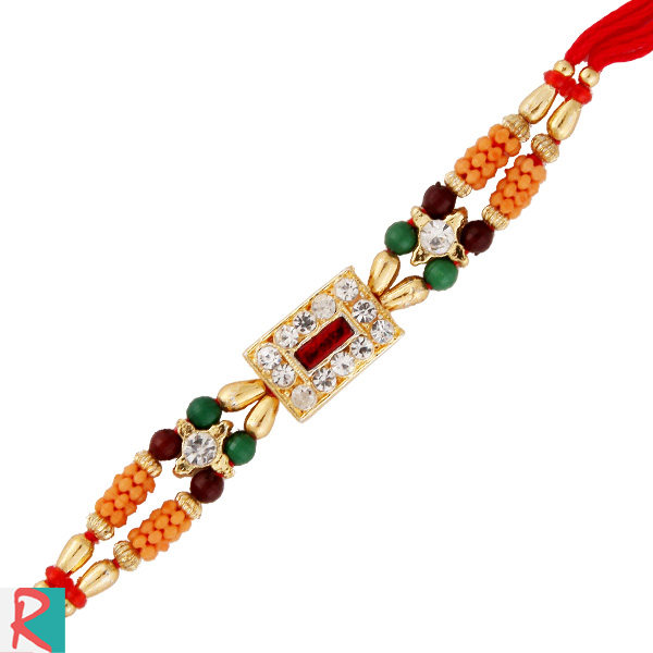 The rich kundan diamond rakhi