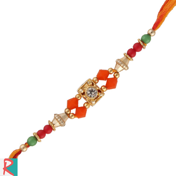 Spiral square center based jewel rakhi