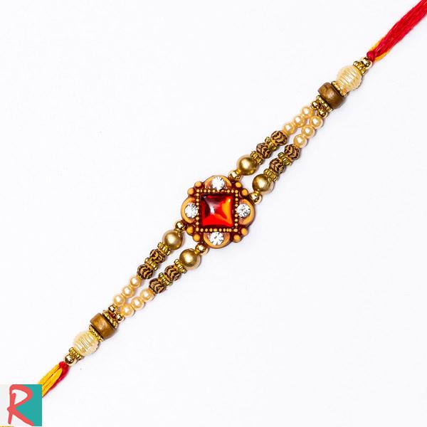 Ruby Square Diamond Rakhi