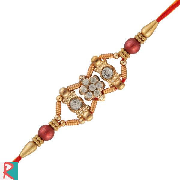 Antique finish beads rakhi