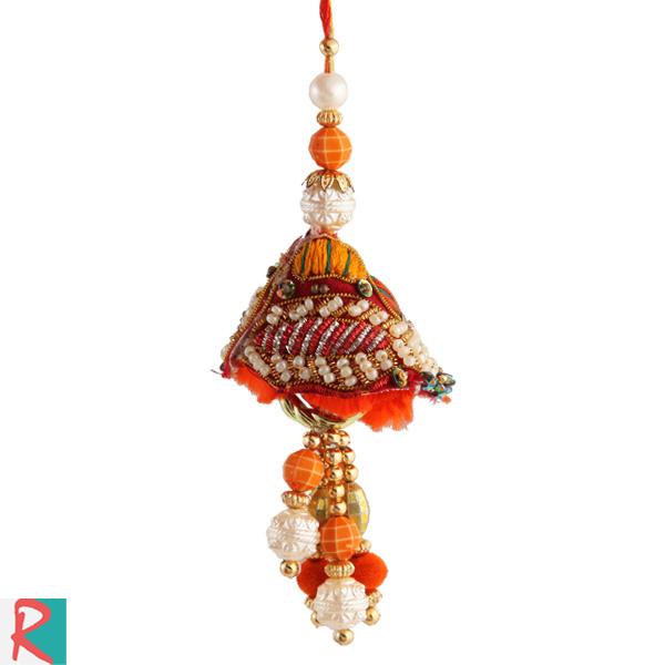 Handmade pearl art lumba rakhi