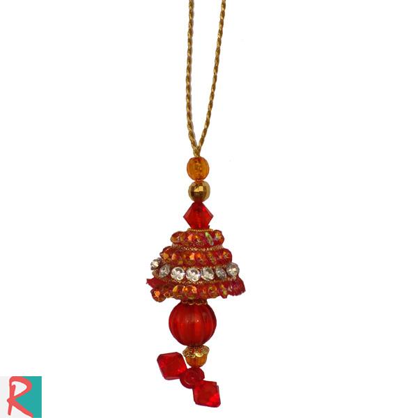 Dangling  colorful satin work lumba rakhi