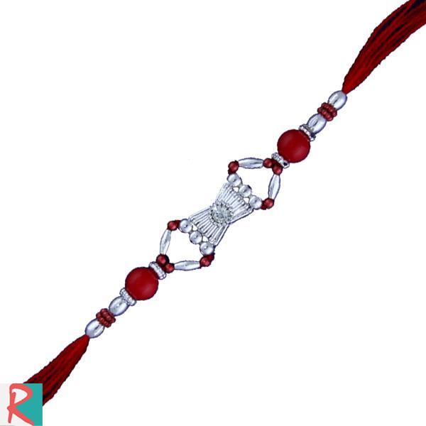 Silver diamond rakhi