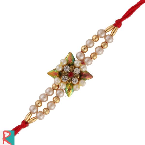 Unique pearl design rakhi