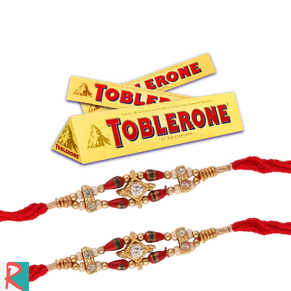 Rakhi with 3 toblerone chocolates