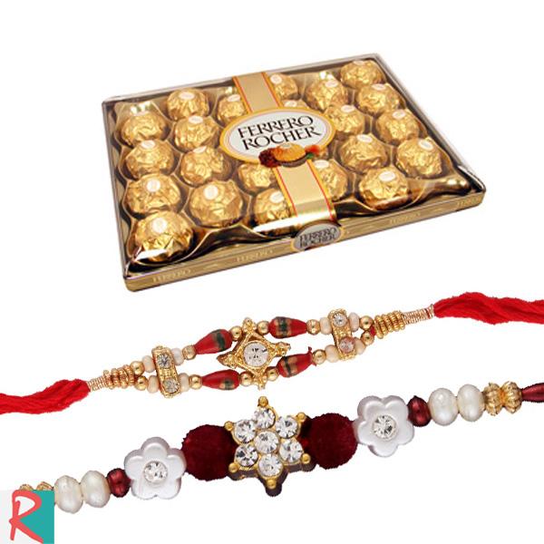 Ferrero rocher 24 pc with 2 rakhis