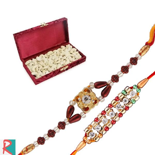 Cashew box with two rakhi