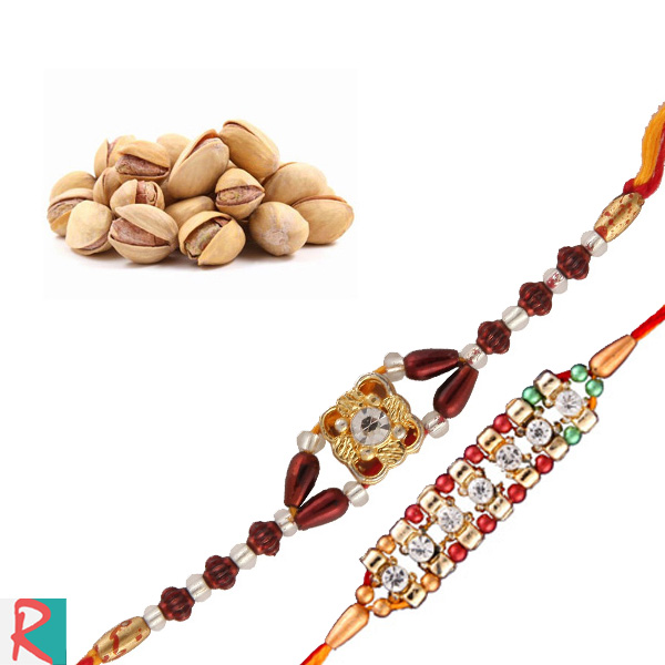 Pista box with two rakhi