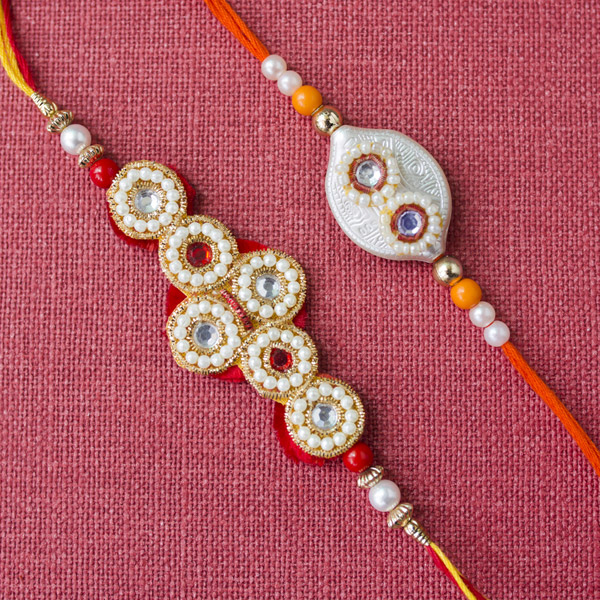 Amazing White beads 2 rakhi