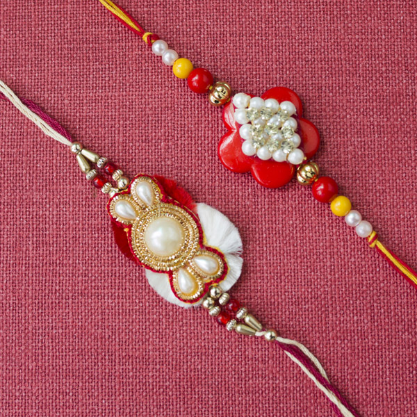 Beautiful Pair Of pearl rakhi