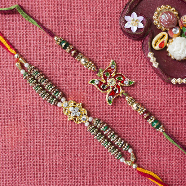 Swastika Rakhi with Diamond Rakhi