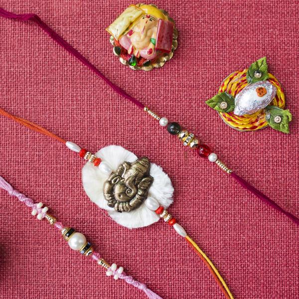 Ganesha Rakhi with Two Rakhi Threads