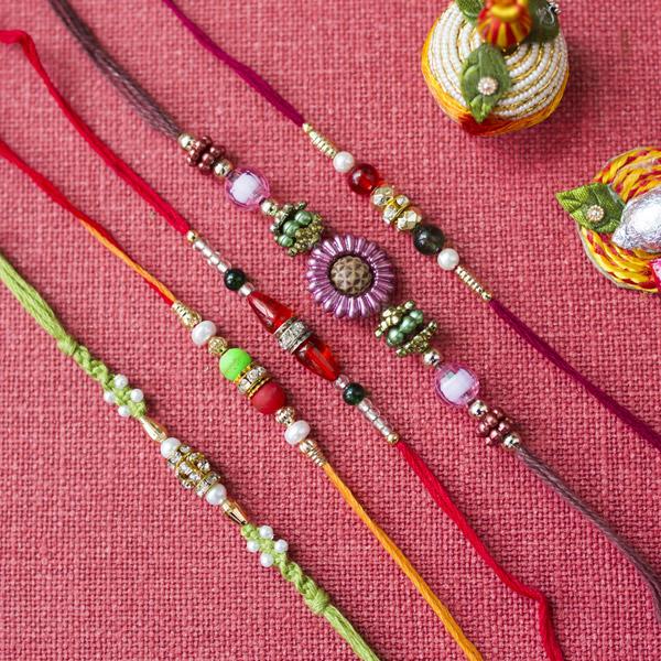 Multicolour rakhi set