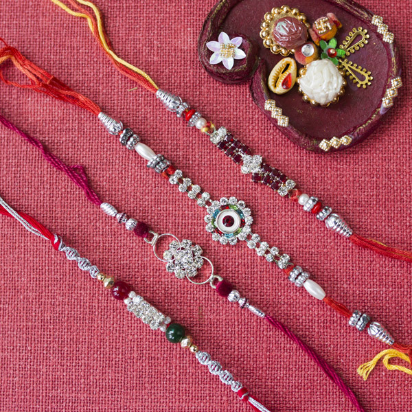 Beautiful Diamond Rakhi Set