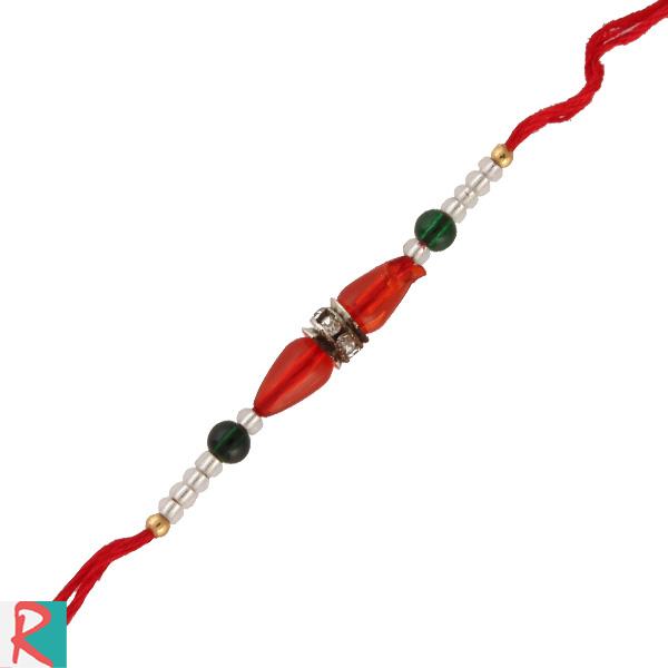 Red beads pearl rakhi