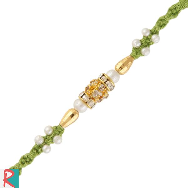 Pearl diamond beads rakhi in green dori