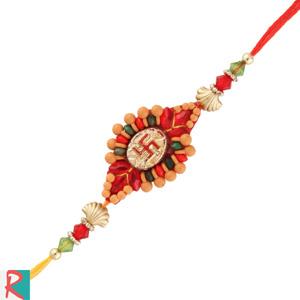 Swastik beads rakhi