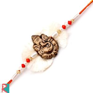 Ganesh white fur rakhi