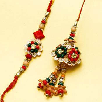 Lovely art design rakhi pair