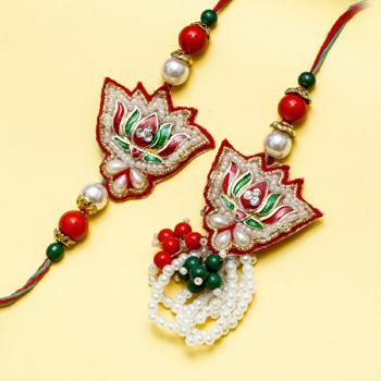 Stylish lotus pearl bhaiya bhabhi rakhi