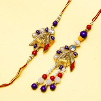 Designer diamond petal bhaiya bhabhi  rakhi