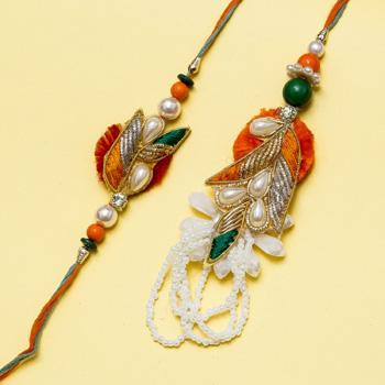 Designer beads petal bhaiya bhabhi rakhi