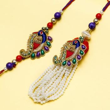 Designer peacock bhaiya bhabhi rakhi