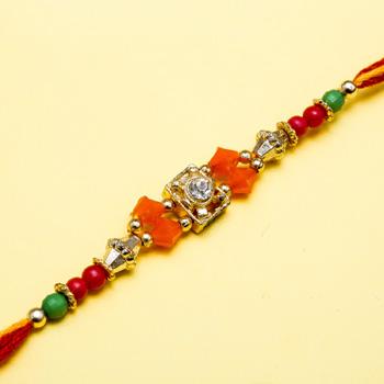Spiral square center based jewel rakhi
