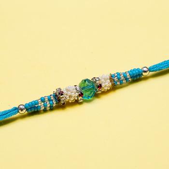 Rich blue bead moti rakhi