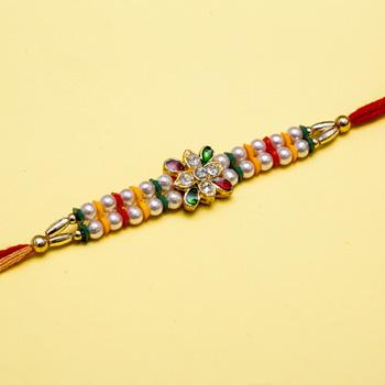 Artistic kundan beaded rakhi