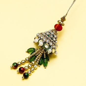 Green designer lumba rakhi