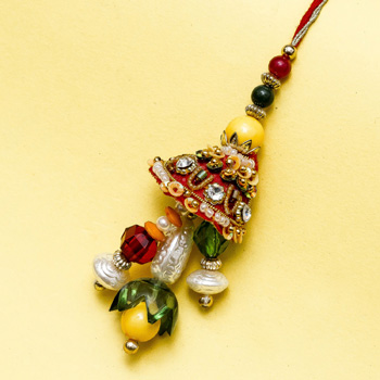 Pearl and glass drops lumba rakhi
