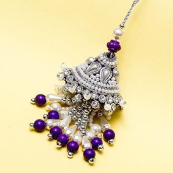 Heavy pearl work lumba rakhi