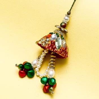 Shiny glass ghunghru lumba rakhi
