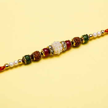 Divine pearl beads rakhi for brother