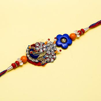 Diamond studded beautiful peacock rakhi