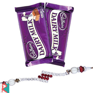 Rakhi with 2 cadbury dairy milk chocolates