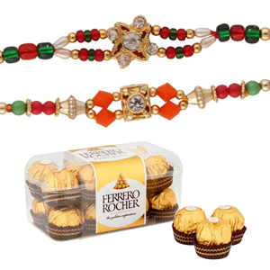 16 pc ferrero rocher with 2 rakhi set