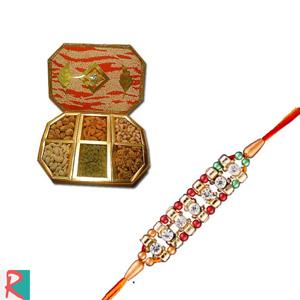 Big dry fruit box with onkar rakhi