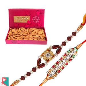 Almonds box with two rakhi