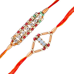 2 diamond rakhi set