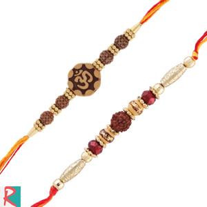 2 rakhi with om and rudraksha